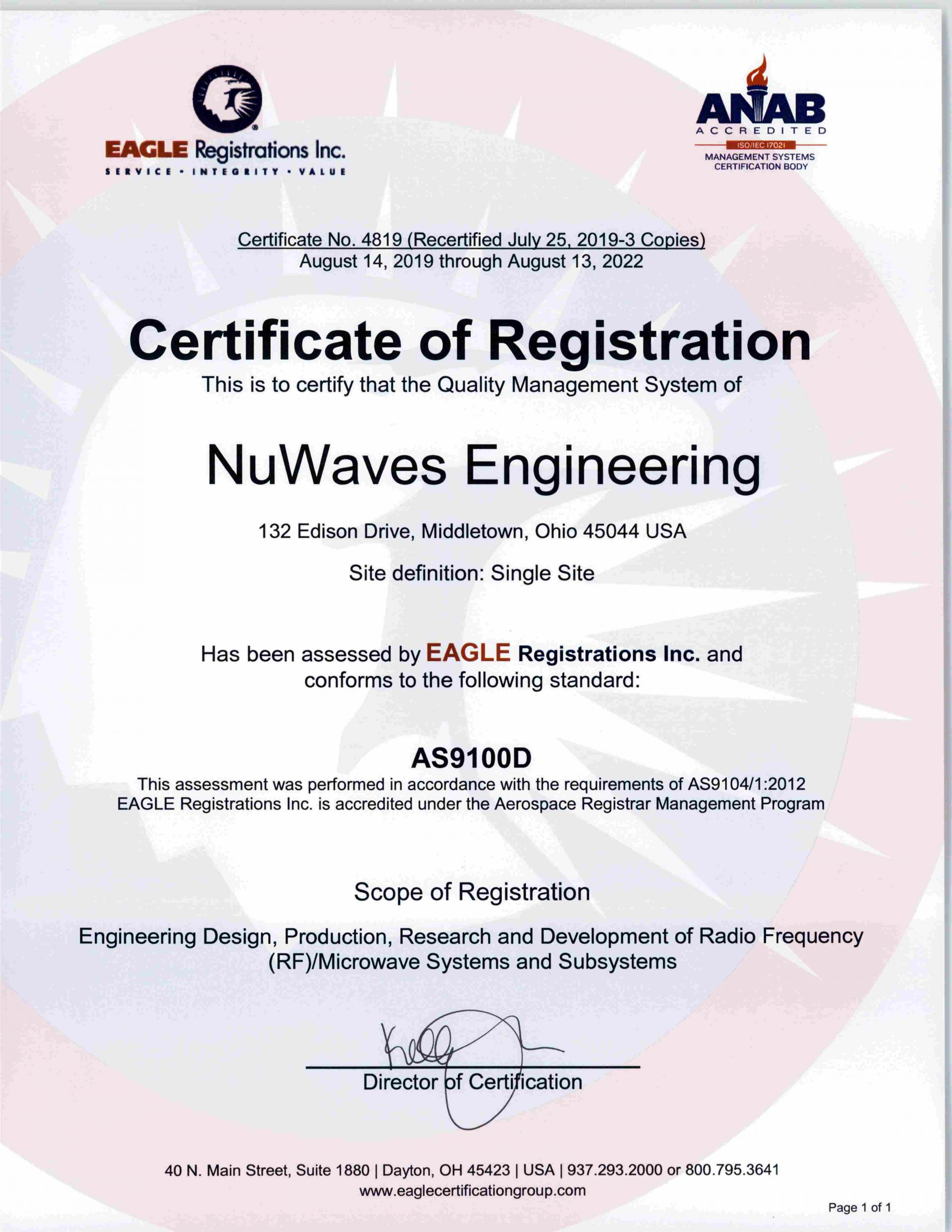 RF Engineering; ISO 9001:2015; AS9100:2016 Rev D