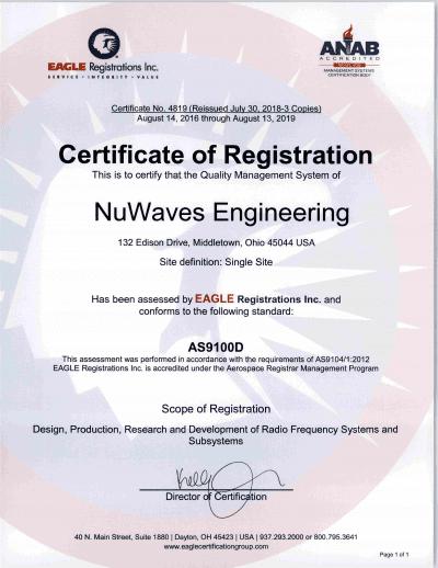 RF Engineering; ISO 9001:2015; AS9100:2016 Rev D